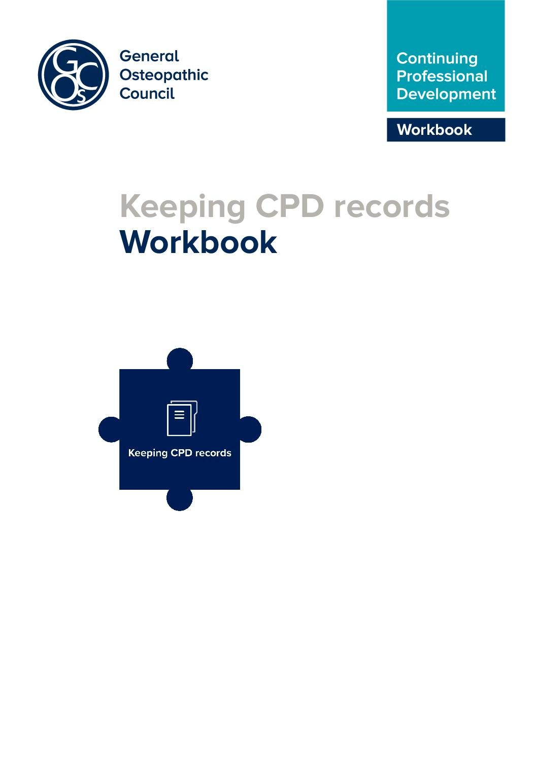 Keeping your CPD records Workbook